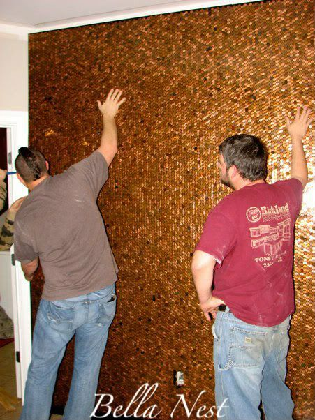 mounting copper pennies on MDF for an applied wall covering.  how to from:  Out of the Ordinary Nook Wall
