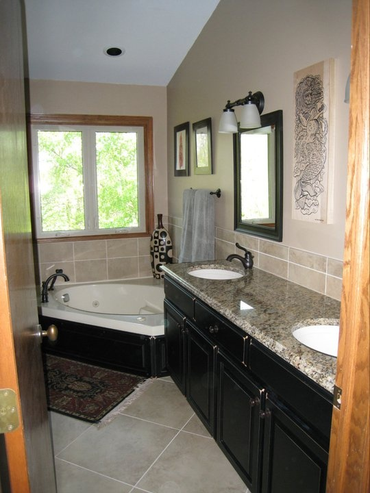 Bath Remodel, Granite Top, Undermount Sinks, Tile Backsplash, Tile  Wainscott, Adult