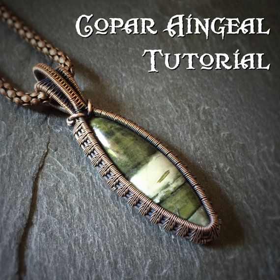 TUTORIAL - Fern Weave Pendant - Wire Wrapping - Jewelry Pattern - Marquise Cabochon Wire Wrapped Gemstone Lesson - Wire Wrap Stone