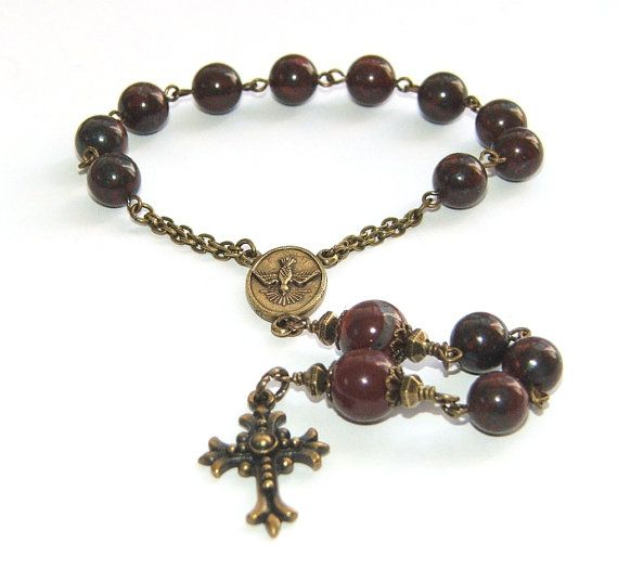 Man's Pocket Rosary Prayer Beads, Natural Jasper & Brass, Single Decade Catholic Rosary