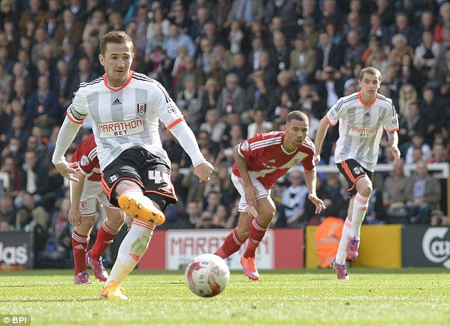 Fulham striker Ross McCormack scores a penalty for Fulham in a 4-3 win against Middlesbrough at Craven Cottage