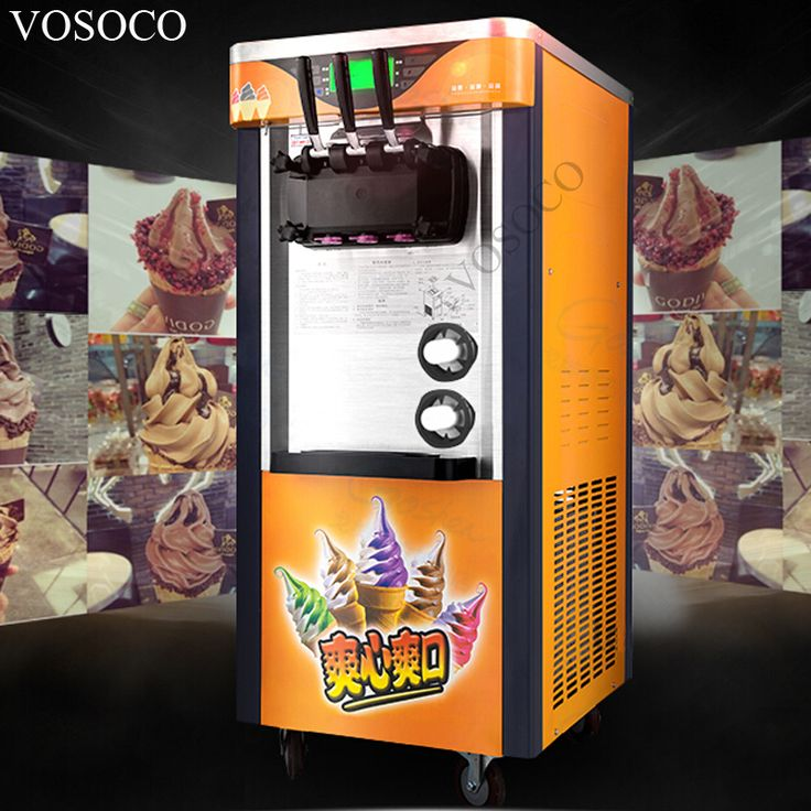 VOSOCO Commercial ice cream machine SANYO compressor automatic 3 color cone ice cream Stainless steel soft ice cream maker 2100W