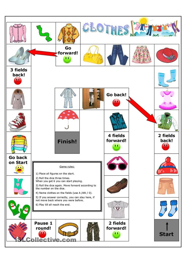 Clothes Board Game Worksheet