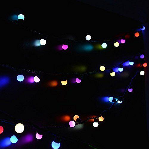 EderTEK Christmas 50 LED 16ft RGB Ball Light, Color Change Novelty Fairy  Globe String Lights