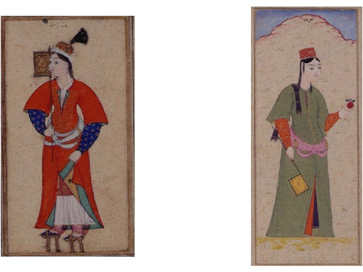 Ottoman turkish women, c.1600. Neat example of accessories as well: they are both holding fans