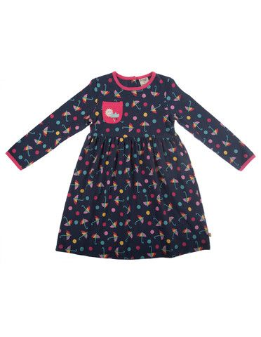 Frugi Ruby Girls Dress - Navy Bright Brollies - Dandy Lions Boutique