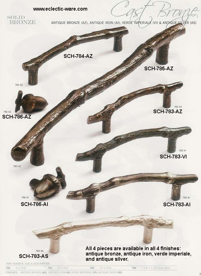Schaub&Company Cast Bronze collection of oak twig handles and acorn shaped cabinet knobs