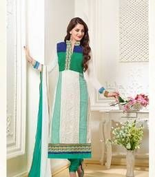 Buy White and Aqua Gerogette Embroidery Designer Semi-Stitched Straight Suit wedding-salwar-kameez online
