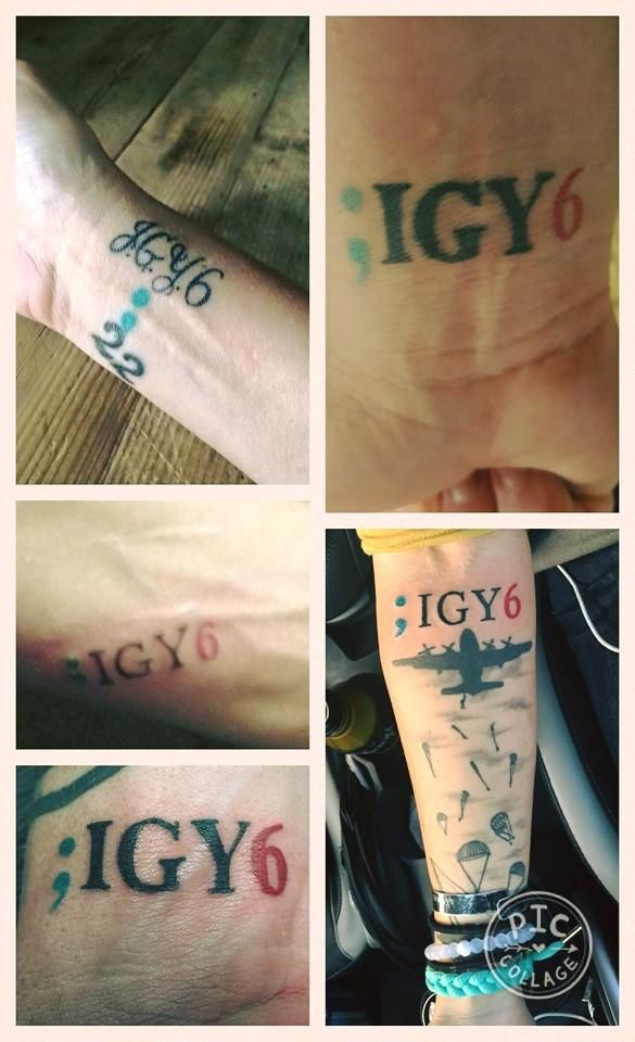 ;IGY6 Tattoo The semicolon from the Project Semicolon. Almost like a thought, a reconsideration of the cessation of a sentence, or in this case, your life.  IGY6 stands for I Got Your Six. Teal is PTSD awareness, black is for the heavy hearts that many of us carry, those who suffer from PTSD and those who have lost loved ones to suicide because of PTSD. The red is a symbol of the blood that has been shed.