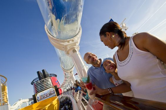 The first of its kind at sea, Disney Cruise Line's AquaDuck is an exciting water coaster aboard the Disney Fantasy that transports guests on an exhilarating journey off the side of the ship and down 4 decks into a lazy river