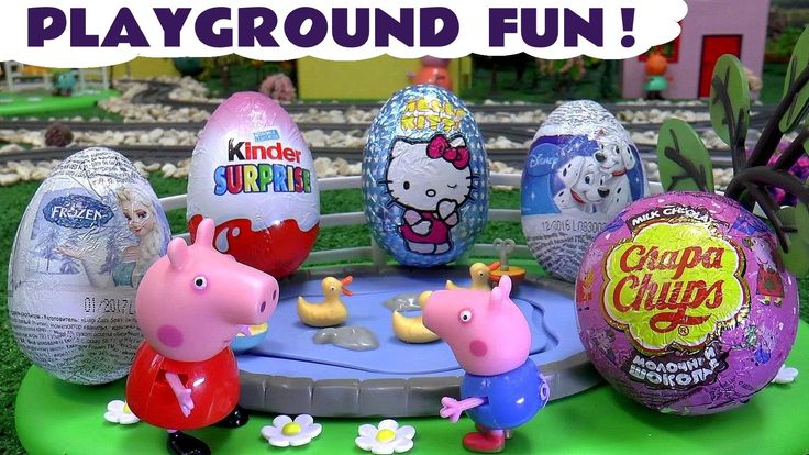 Peppa Pig Playground Fun Kinder Surprise Eggs Thomas The Tank Engine Hel...