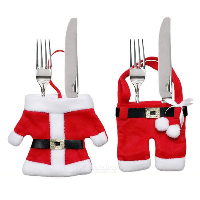 christmas dinner table decoration small clothes pants red