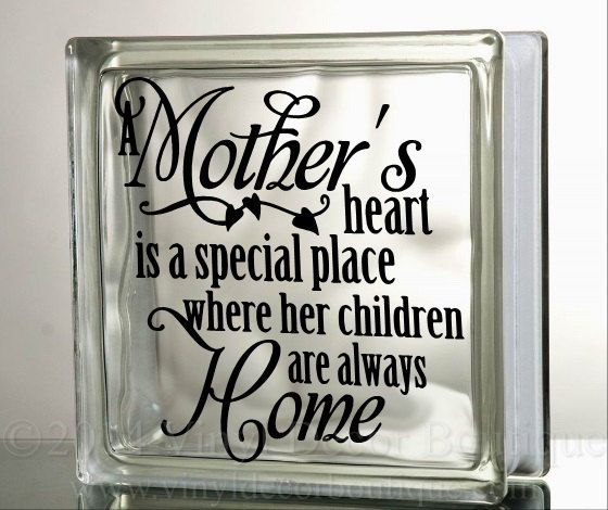 A Mother's Heart Love Glass Block Decal Tile by VinylDecorBoutique
