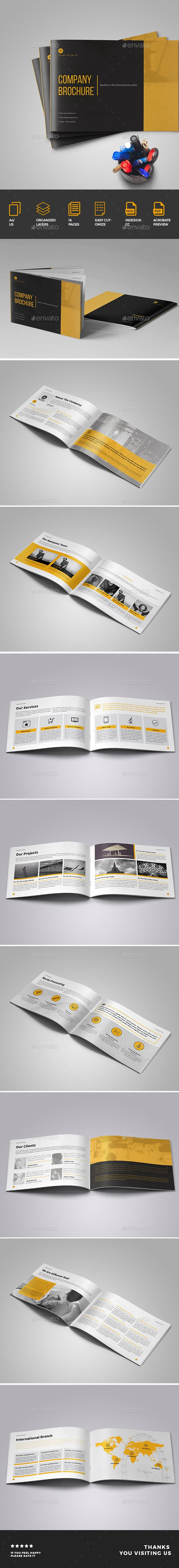 Brochure 18 page company profile brochure design ready to use for corporate profile, company profile, financial profile brochure, corporate brochure, multipurpose company profile brochure catalog template etc. The item is available in A4 size Landscape . You will get well documented and layered indesign files which are very easy to edit and modify as per your business needs.