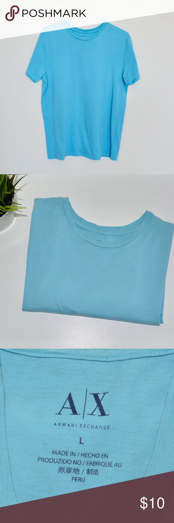 🔹Armani Exchange Men's T-shirt🔹 Simple light blue Armani Exchange men's t Shirt in size L. Been worn a handful of time, one small hole near the label on the right side at the bottom ! Stored in a smoke free home. 💥🎉bundle 3+ for 15%🎉💥 A/X Armani Exchange Shirts Tees - Short Sleeve