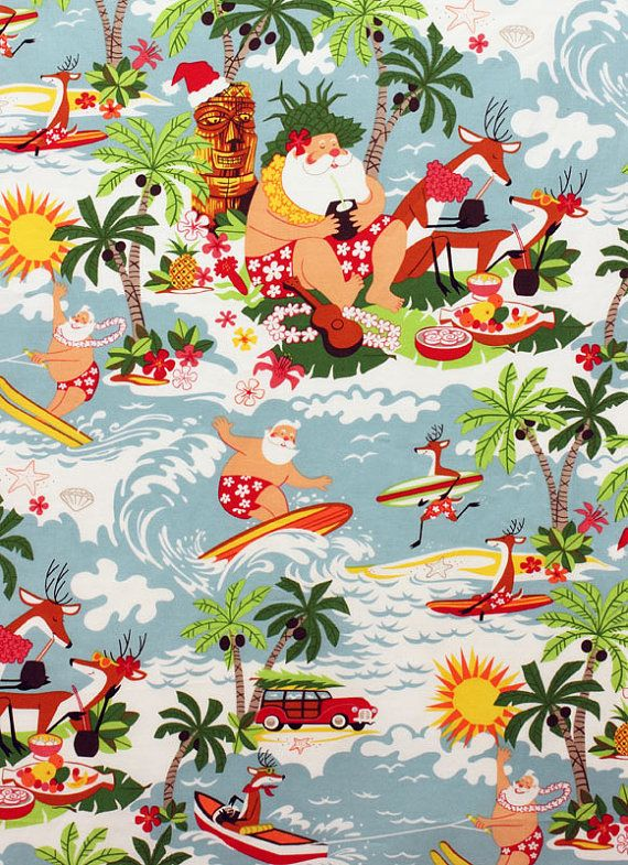 Surfing and Beach Santa's are some of my favorite things! Surfing Santa Bright on Etsy, $11.66
