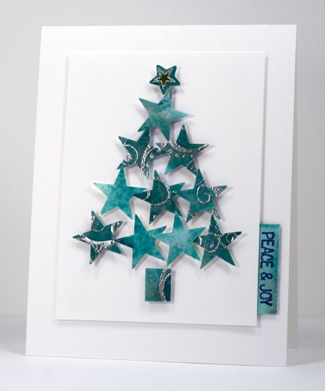 No Card Left Behind Heather Telford by punching star shapes from panel similar to the one on the preceding card