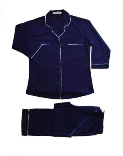 Cotton Pyjamas - Classic Long Sleeve Blue with White Trim