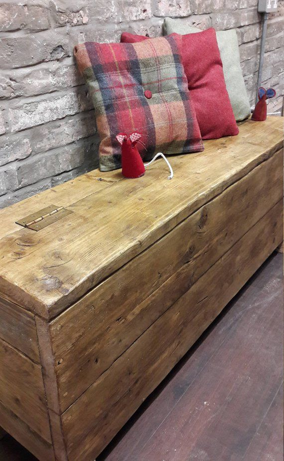 Reclaimed Wood Hallway Bench Hall Storage Box Seat Shoe Etsy Rustic Storage Bench Wooden Storage Bench Diy Storage Bench