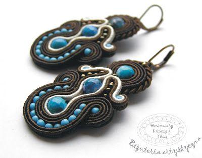 www.facebook.com/... Rękodzieło-biżuteria sutasz. Handmade-soutache jewellery. #blue #valentinesday #earrings #kolczyki #agat #brown #walentynki