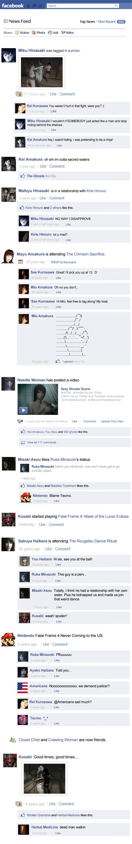 what if fatal frame characters have facebook