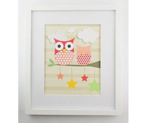 Two Little Owls Print 12 x 14""