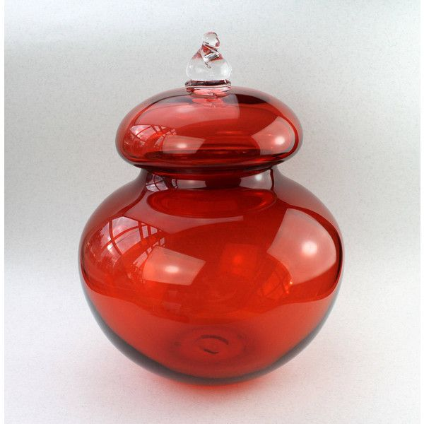 Beautiful Large Hand Blown Glass Jar with Lid, Warm Orange, Unique,... ($284) ❤ liked on Polyvore featuring home, kitchen & dining and food storage containers