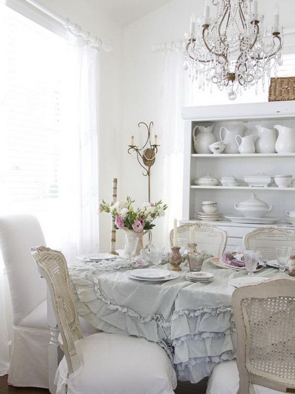 Shabby Chic Dining Room With Dishware Display.