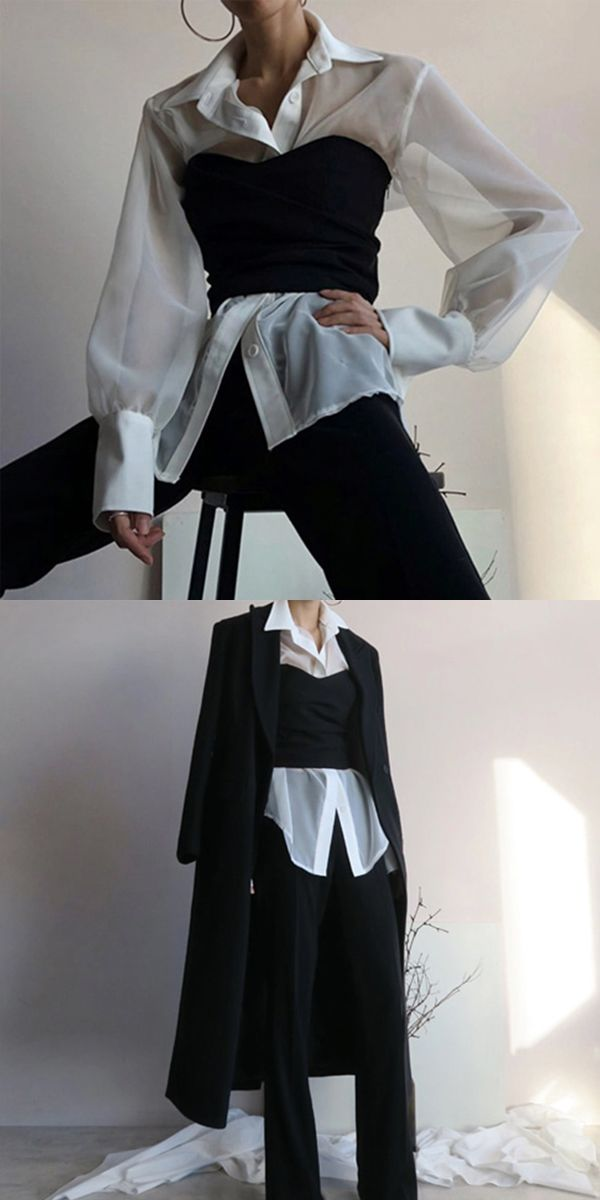 Women's Fashion Bishop Sleeve Turndown Collar Loose Blouse