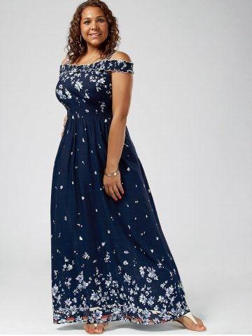 fe4a58333d7 Plus Size Floral Print Cold Shoulder Maxi Dress