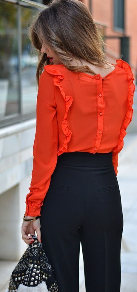 Office look | Red ruffling blouse with high waist black pants #legs