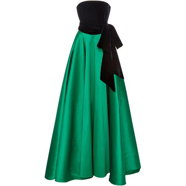 Sachin & Babi Denise Velvet Gown ($1,695) ❤ liked on Polyvore featuring dresses, gowns, green ball gown, floor length gown, velvet evening gown, green evening dresses and velvet dress