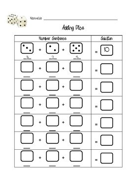 roll 3 dice and add worksheet name