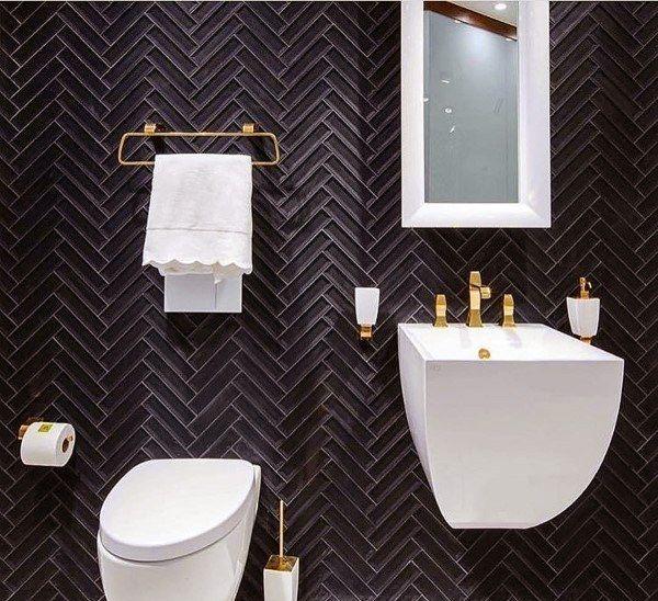 Top 60 Best Half Bath Ideas Unique Bathroom Designs Design Black And Gold Washroom