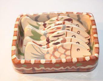 Small sardine box - fish knife rests, ceramic home decor