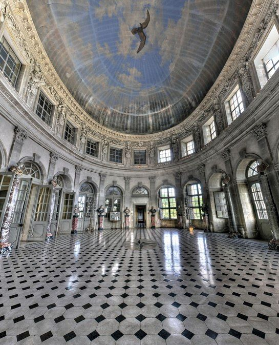 Château Vaux-le-Vicomte (France) - the double-height grand salon (ballroom) overlooks formal gardens
