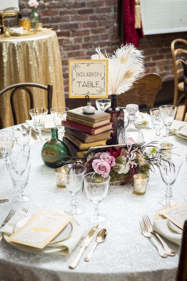 Prohibition Era themed Speakeasy wedding with a red, black, and gold palette 18