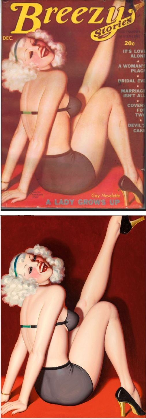 ENOCH BOLLES - A Lady Grows Up - Dec 1936 Breezy Stories - cover by isfdb - pin by Sam Johnson