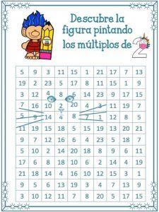 Descubre la figura pintando los múltiplos para trabajar y aprender las tablas de multiplicar | Educación Primaria