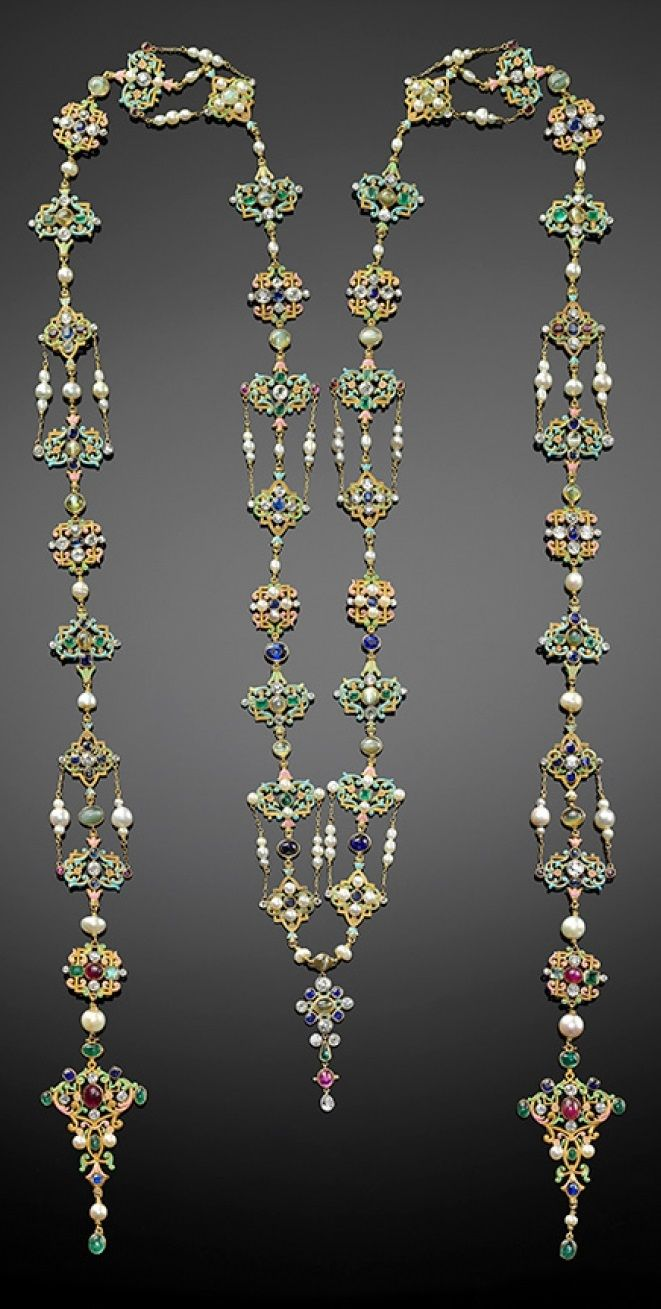 G. Paulding Farnham for Tiffany & Co. - A Renaissance Revival neck ornament, 1900–04. Composed of platinum, gold, enamel, diamonds, rubies, emeralds, cat's eye, chrysoberyl, sapphires, and pearls. #PauldingFarnham #Tiffany #antique