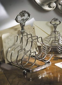 Silver plated toast rack.