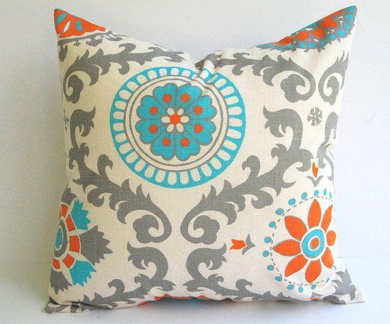"Natural pillow cover One 18"" x 18"" Orange Natural Aqua Gray dosset Rosa Mandarin decorative throw pillow cover. $17.00, via Etsy."