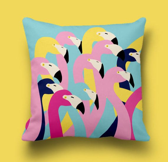 Flamingos pillow cover, Decorative pillow, Cushion cover, Throw pillow cover, Coutch pillow cover, Animal pillow, Accent pillow cover,