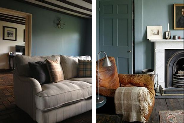 Farrow and Ball 'Oval Room Blue' - less formal living room