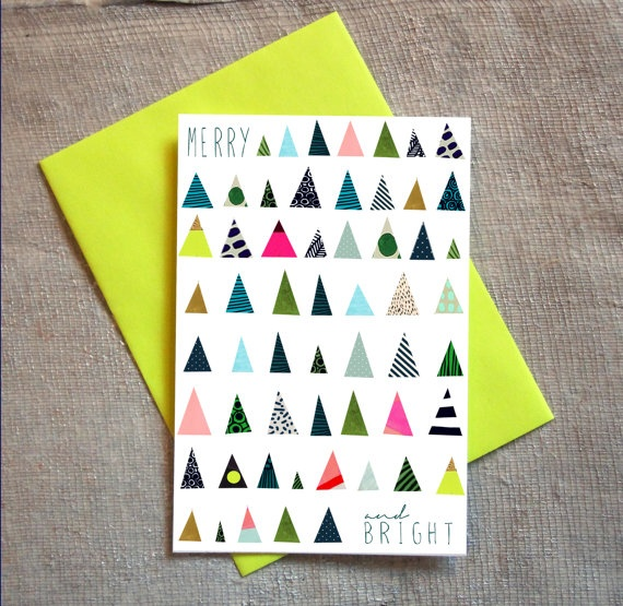 Merry and Bright Holiday Card Set of 6: Mini Triangle Trees, Brights & Neons, Yellow, Pink, Navy or Dark Green Envelopes. $18.00, via Etsy.