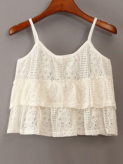 Wholesale Fashion hollow out flouncing decorated white tank top MS-P1209 - Lovely Fashion
