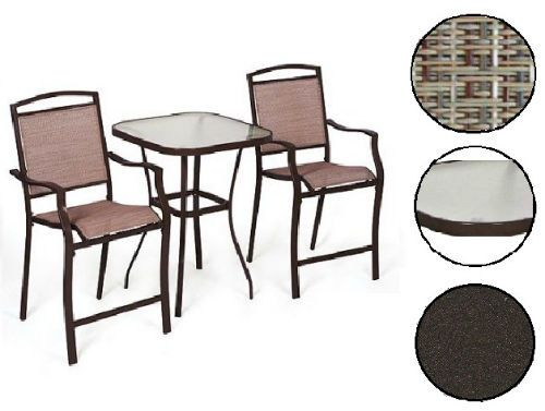 3PC Bistro Set Outdoor Patio Furniture Garden Table 2 Seats Porch Balcony Yard  #Mainstays