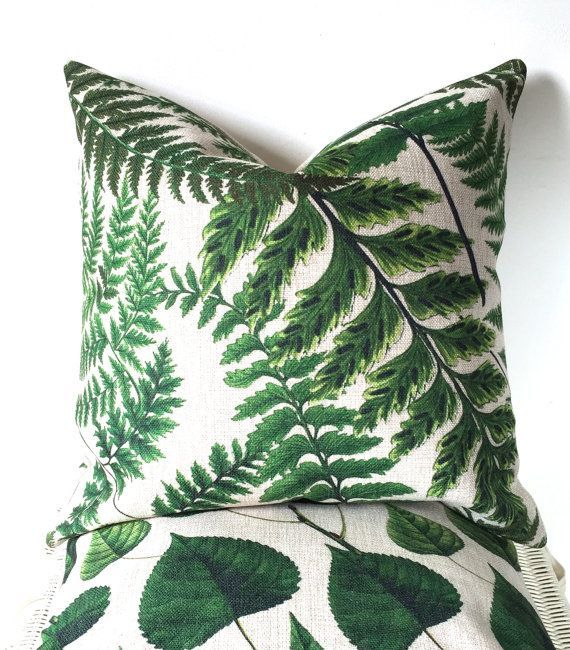 Green botanical cushion cover plants pillow cover by AugustPlaceUK