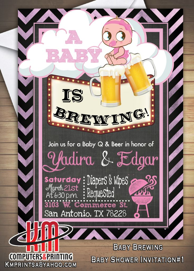 baby shower bbq invitation templates%0A Baby shower  Brewing  Baby Q  Bar B Que Invitation Custom for girl or