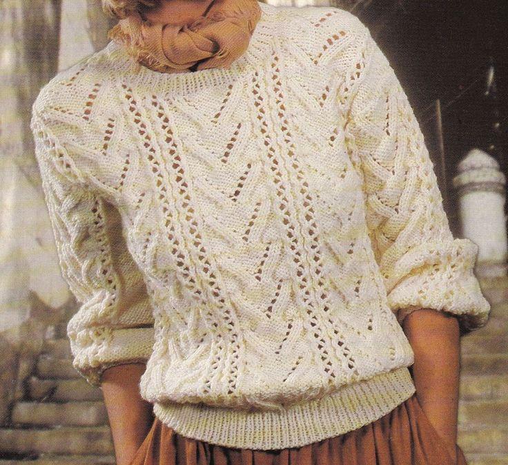 Vintage Knitting Pattern Instructions to Make a Ladies Aran Jumper 6 Sizes